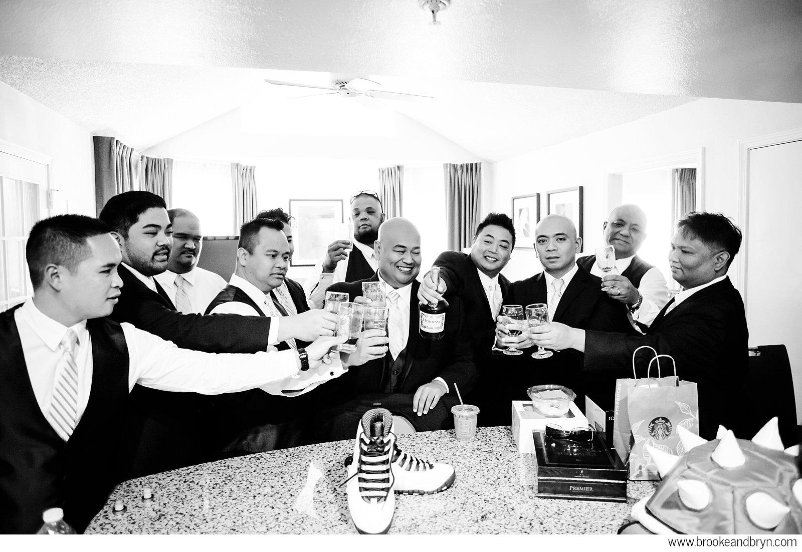 grooms toasting